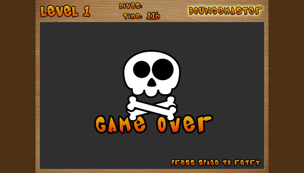 BounceMaster's Game Over screen