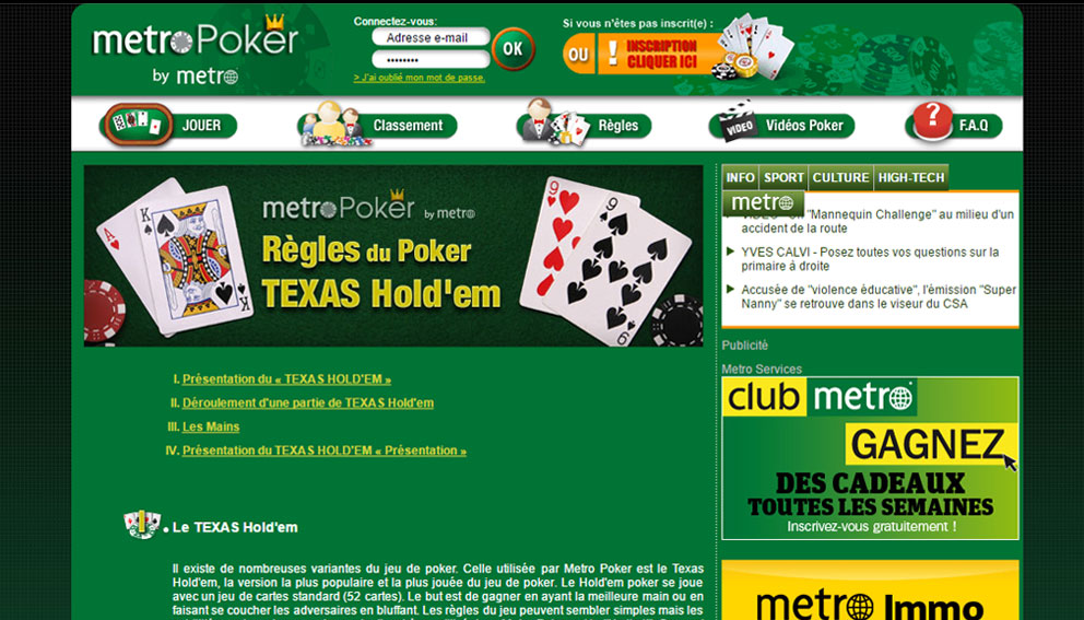 Poker rules in metroPoker