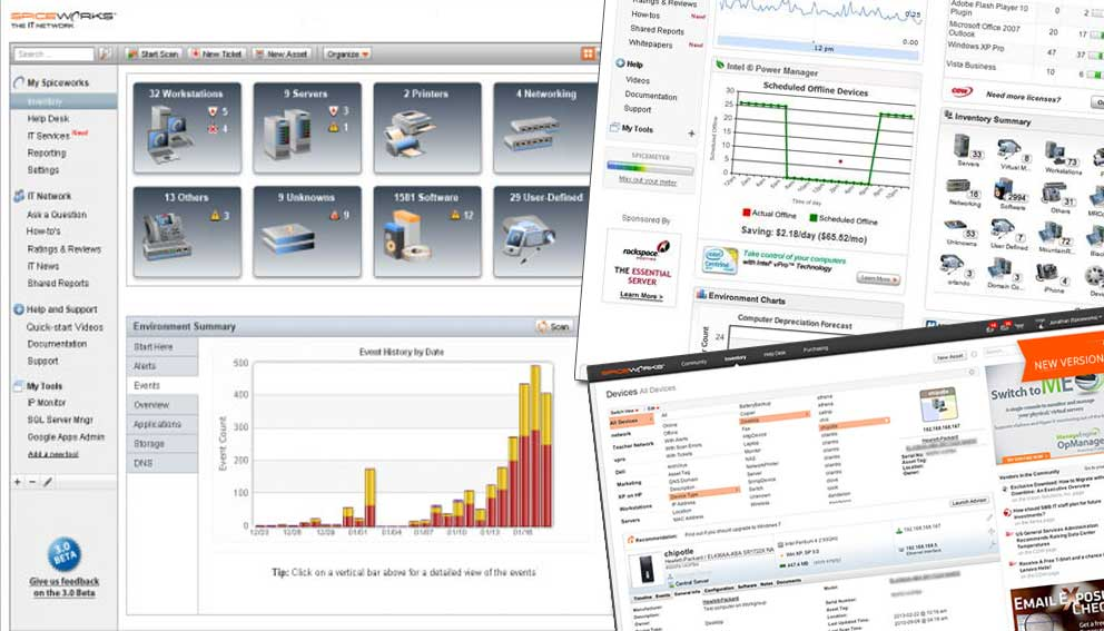 Spiceworks monitoring and inventory