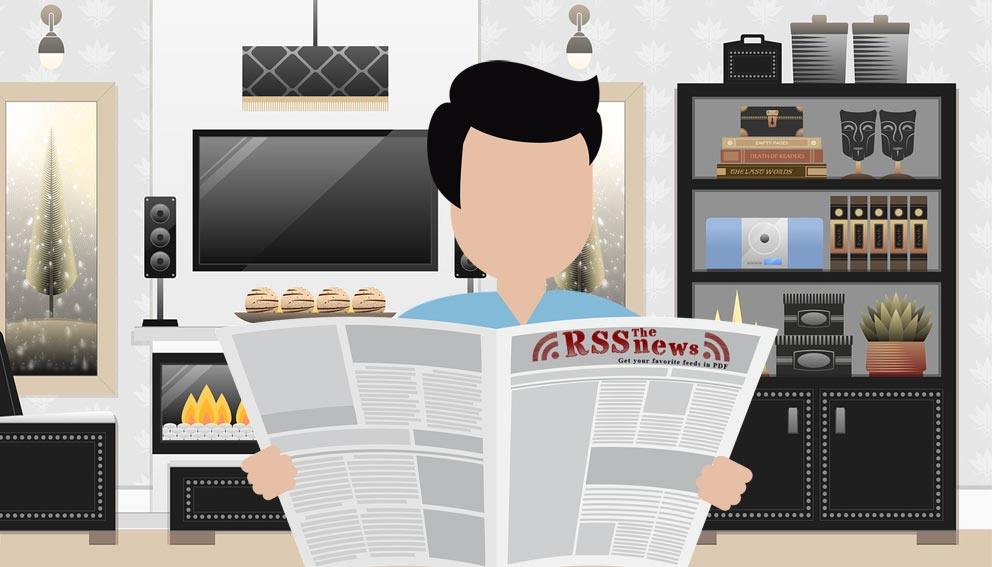 RSSnews reader in his lounge